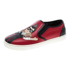 Dolce & Gabbana Red Leather Applique Detail Slip On Sneakers Size 38.5