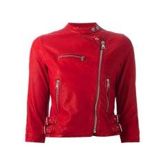 DOLCE & GABBANA red leather CROPPE BIKER Jacket 40 S