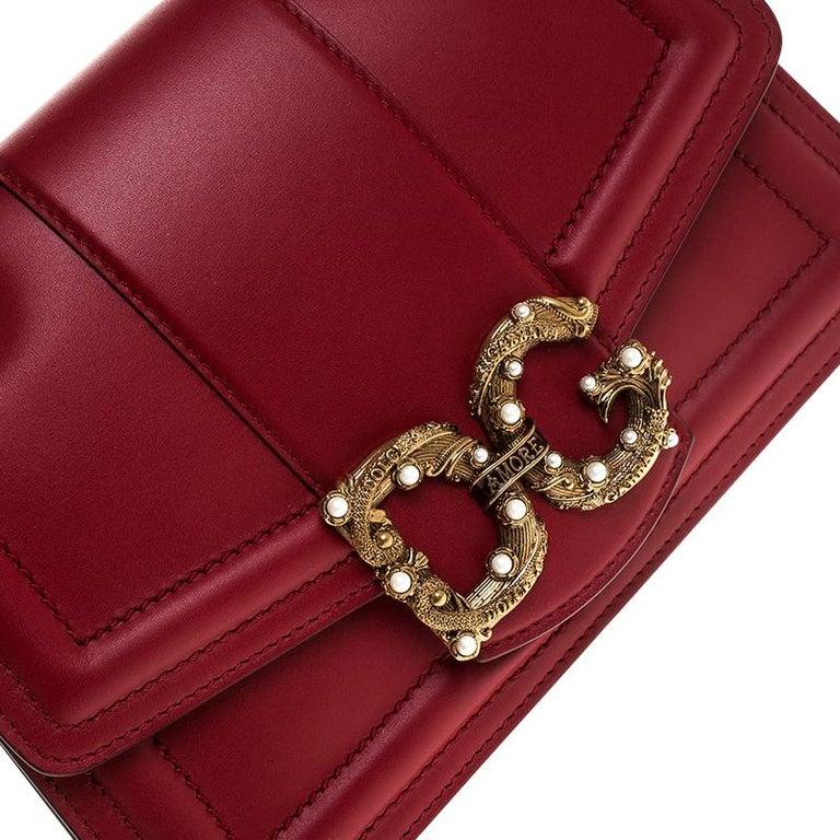 Dolce & Gabbana Red Leather DG Amore Chain Shoulder Bag For Sale 6