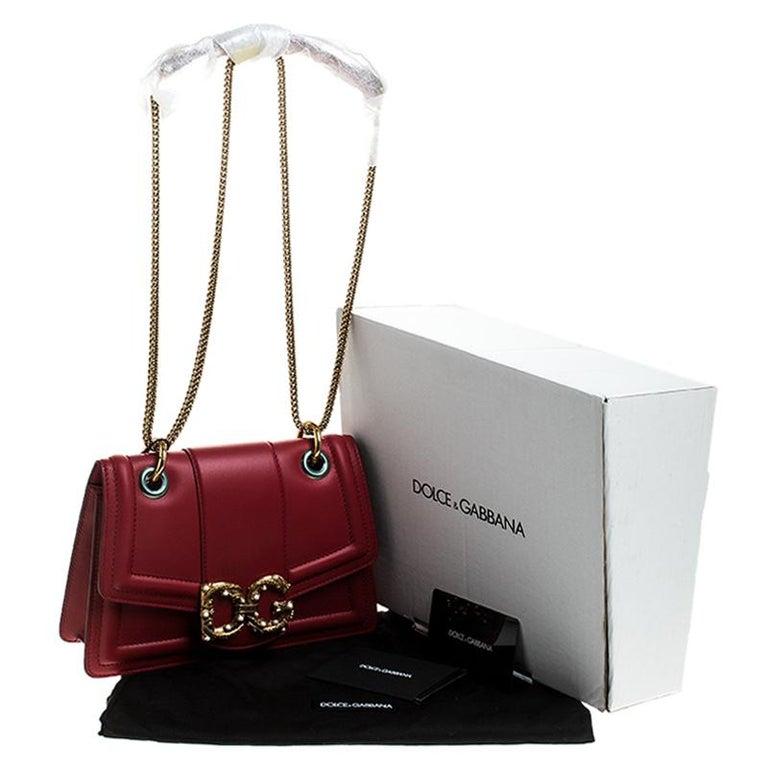 Dolce & Gabbana Red Leather DG Amore Chain Shoulder Bag For Sale 7