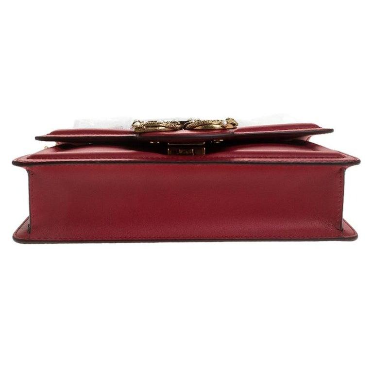 Dolce & Gabbana Red Leather DG Amore Chain Shoulder Bag For Sale 1