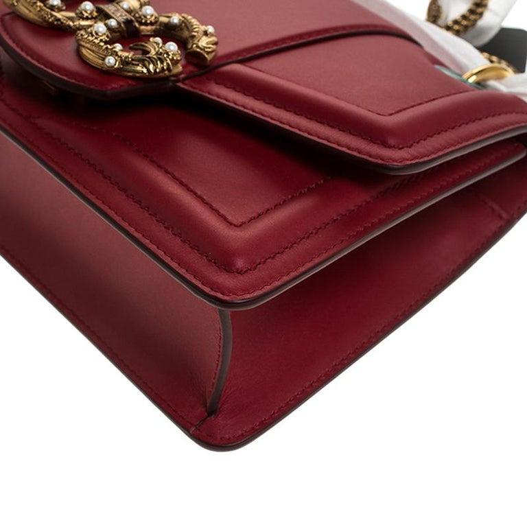 Dolce & Gabbana Red Leather DG Amore Chain Shoulder Bag For Sale 2