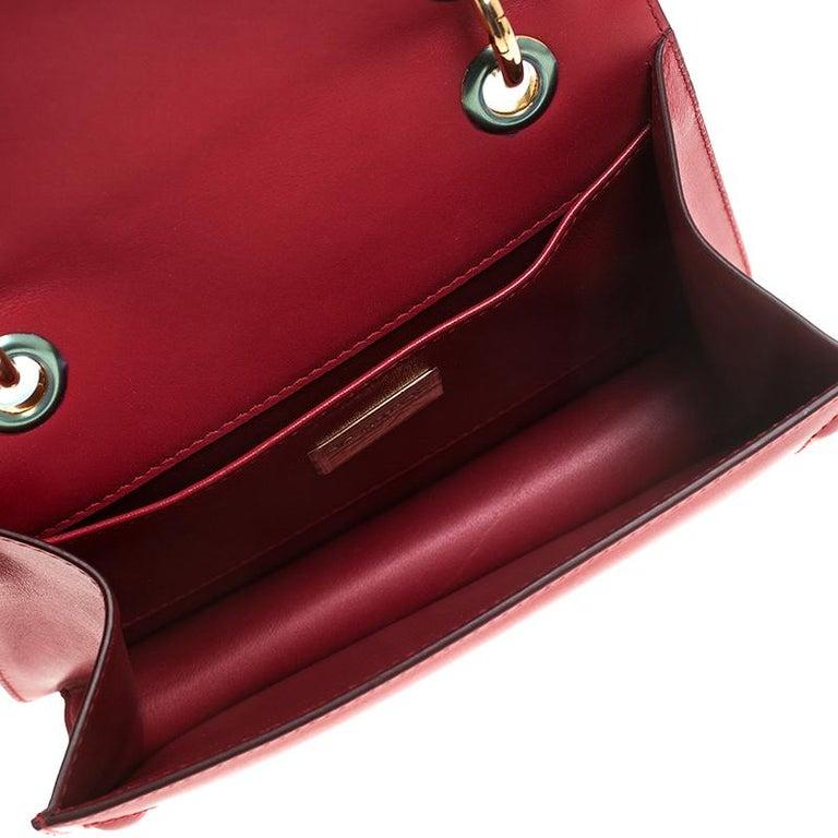 Dolce & Gabbana Red Leather DG Amore Chain Shoulder Bag For Sale 3