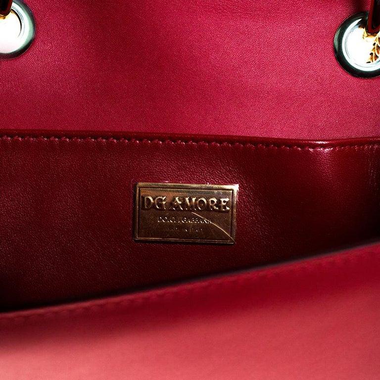 Dolce & Gabbana Red Leather DG Amore Chain Shoulder Bag For Sale 4