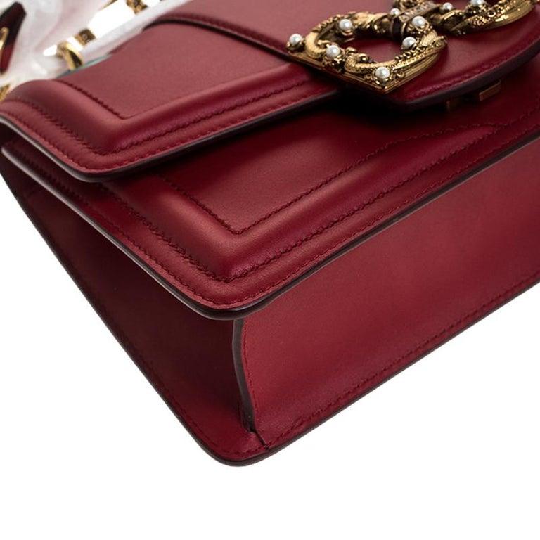 Dolce & Gabbana Red Leather DG Amore Chain Shoulder Bag For Sale 5