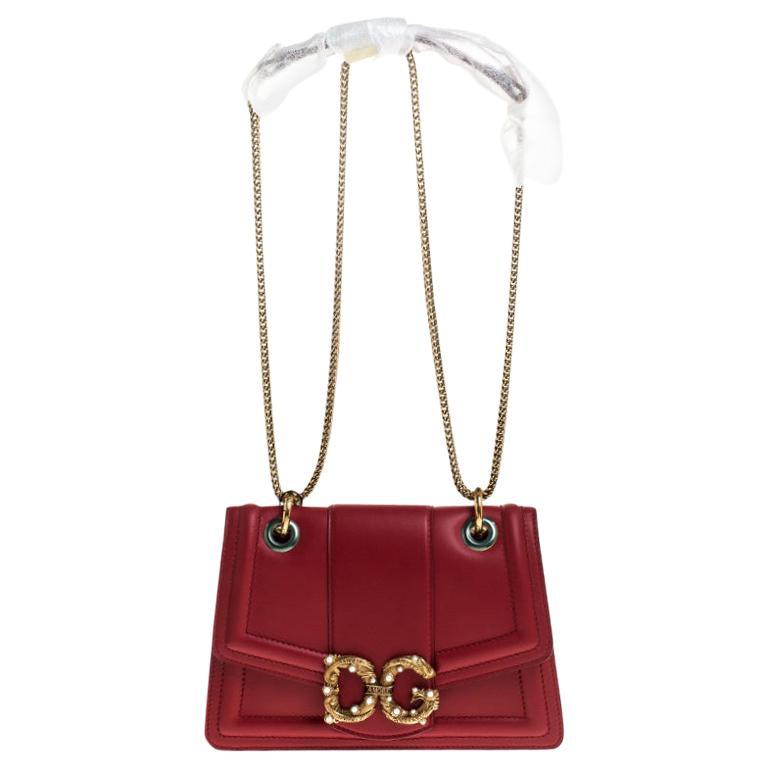 Dolce & Gabbana Red Leather DG Amore Chain Shoulder Bag For Sale