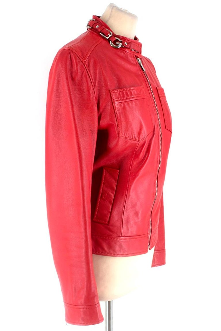 0b324a45a854 Dolce & Gabbana Red Leather Jacket - Statement red leather jacket - Regular  fit - Silver