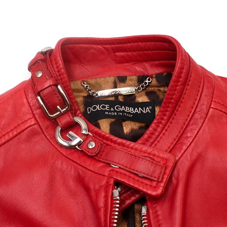 80f20fe4d6a3 Dolce and Gabbana Red Leather Jacket US 4 For Sale at 1stdibs