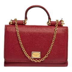 Dolce & Gabbana Red Leather Sicily Von Wallet on Chain