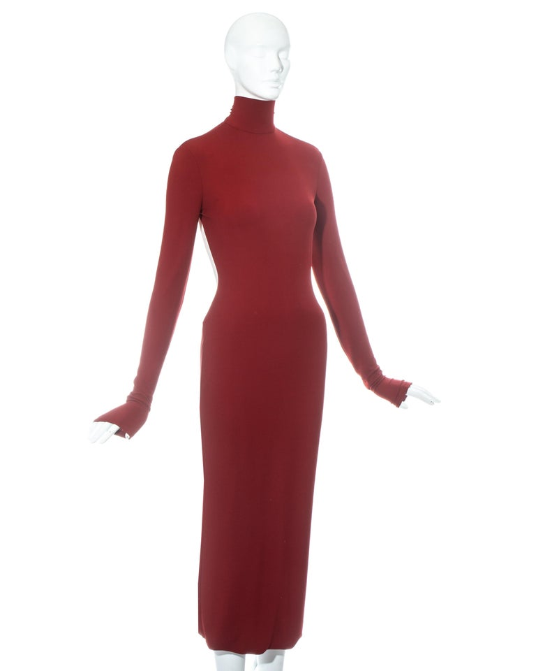 Women's or Men's Dolce & Gabbana red low back figure hugging dress, ss 2001 For Sale