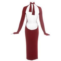 Dolce & Gabbana red low back figure hugging dress, ss 2001