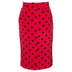 Dolce & Gabbana Red Polka Dot Silk Pencil Skirt S