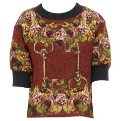 DOLCE GABBANA red polyester silk jacquard floral key cropped boxy sweater top XS