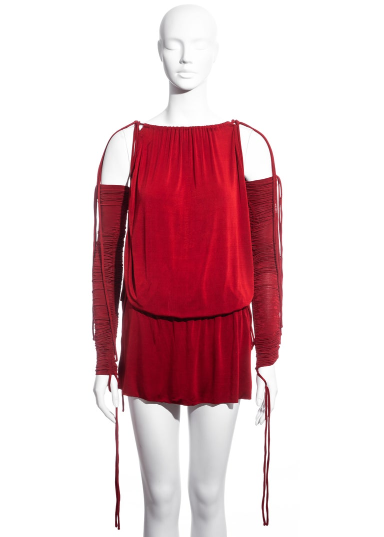 Dolce & Gabbana red rayon drawstring mini dress and sleeves, ss 2003  In Excellent Condition For Sale In London, GB