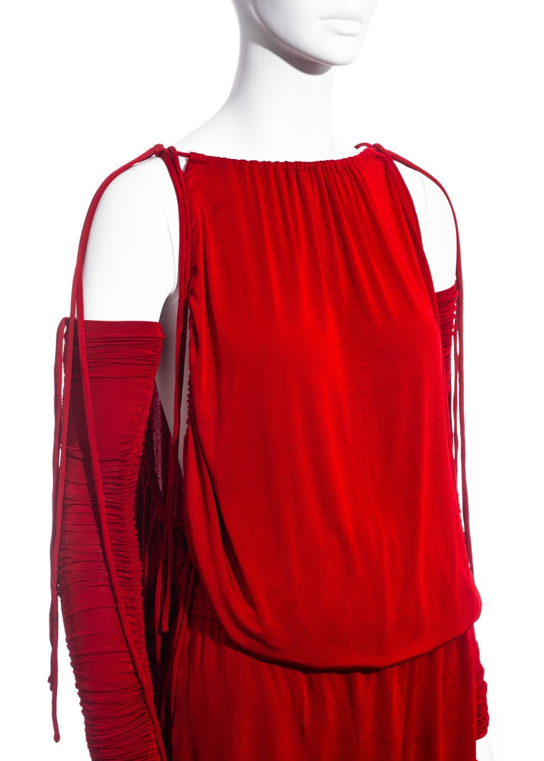 Women's Dolce & Gabbana red rayon drawstring mini dress and sleeves, ss 2003  For Sale