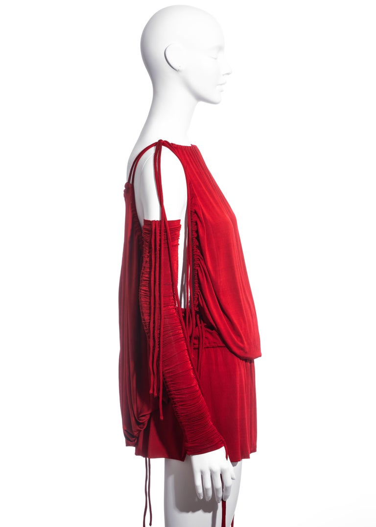 Dolce & Gabbana red rayon drawstring mini dress and sleeves, ss 2003  For Sale 2
