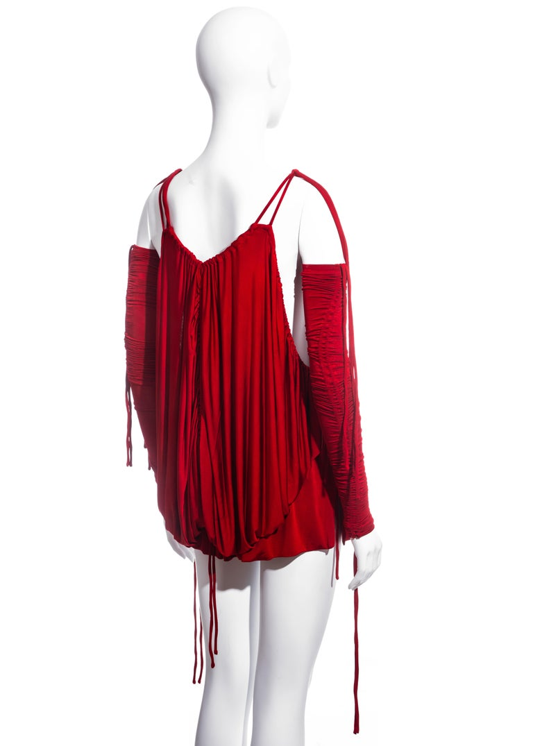 Dolce & Gabbana red rayon drawstring mini dress and sleeves, ss 2003  For Sale 3