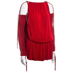 Dolce & Gabbana red rayon drawstring mini dress and sleeves, ss 2003