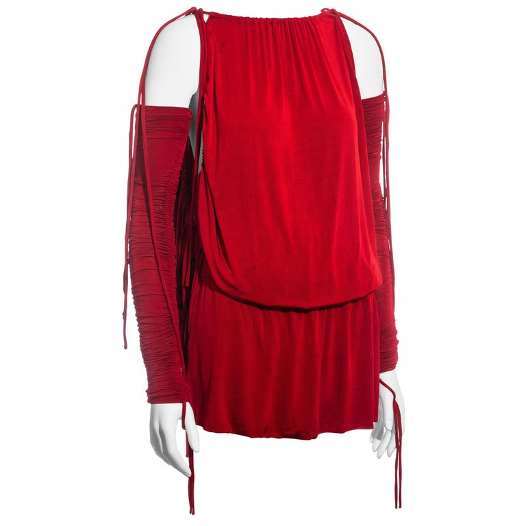 Dolce & Gabbana red rayon drawstring mini dress and sleeves, ss 2003  For Sale