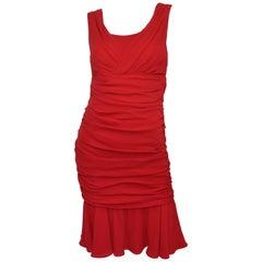 Dolce & Gabbana Red Ruched Silk Dress