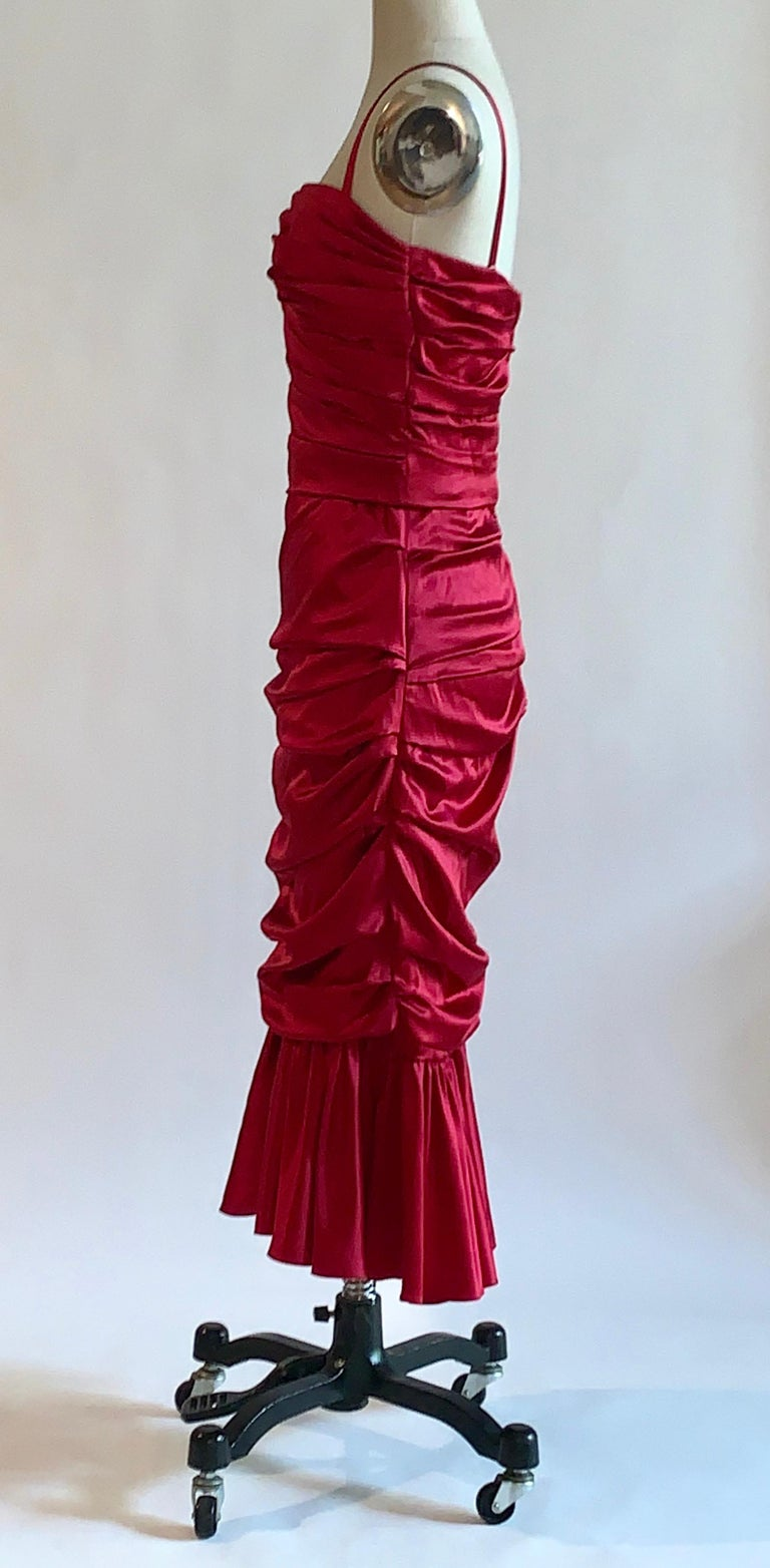 Dolce & Gabbana Red Ruched Silk Satin Cocktail Dress New with Tags In New Condition For Sale In San Francisco, CA