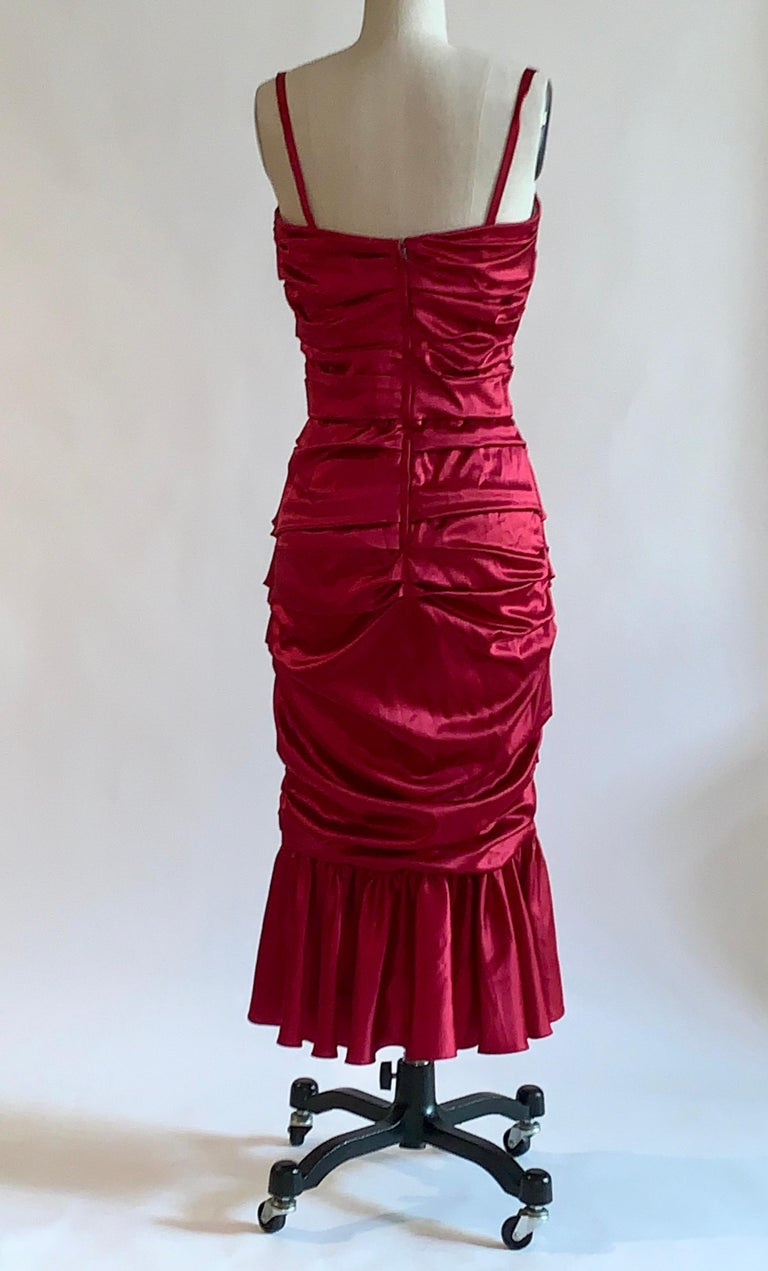 Women's Dolce & Gabbana Red Ruched Silk Satin Cocktail Dress New with Tags For Sale