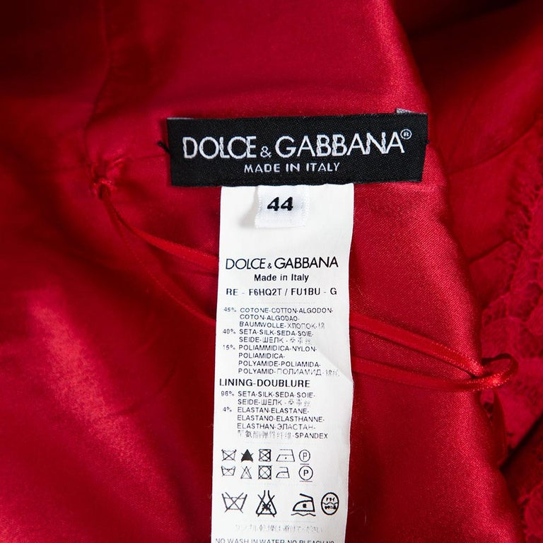 Dolce & Gabbana Red Silk Organza Lace Trim Flared Dress M For Sale 1