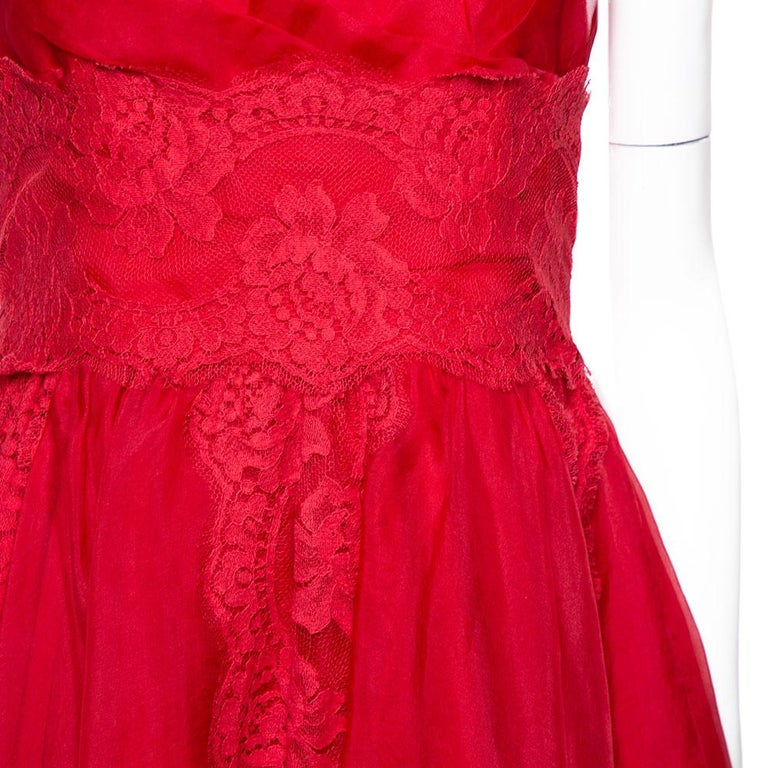 Dolce & Gabbana Red Silk Organza Lace Trim Flared Dress M For Sale 2