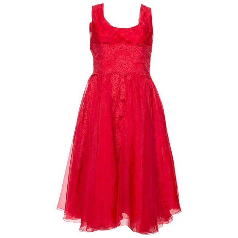 Dolce & Gabbana Red Silk Organza Lace Trim Flared Dress M For Sale