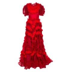 Dolce & Gabbana Red Silk Organza Ruffle Detail Gown M