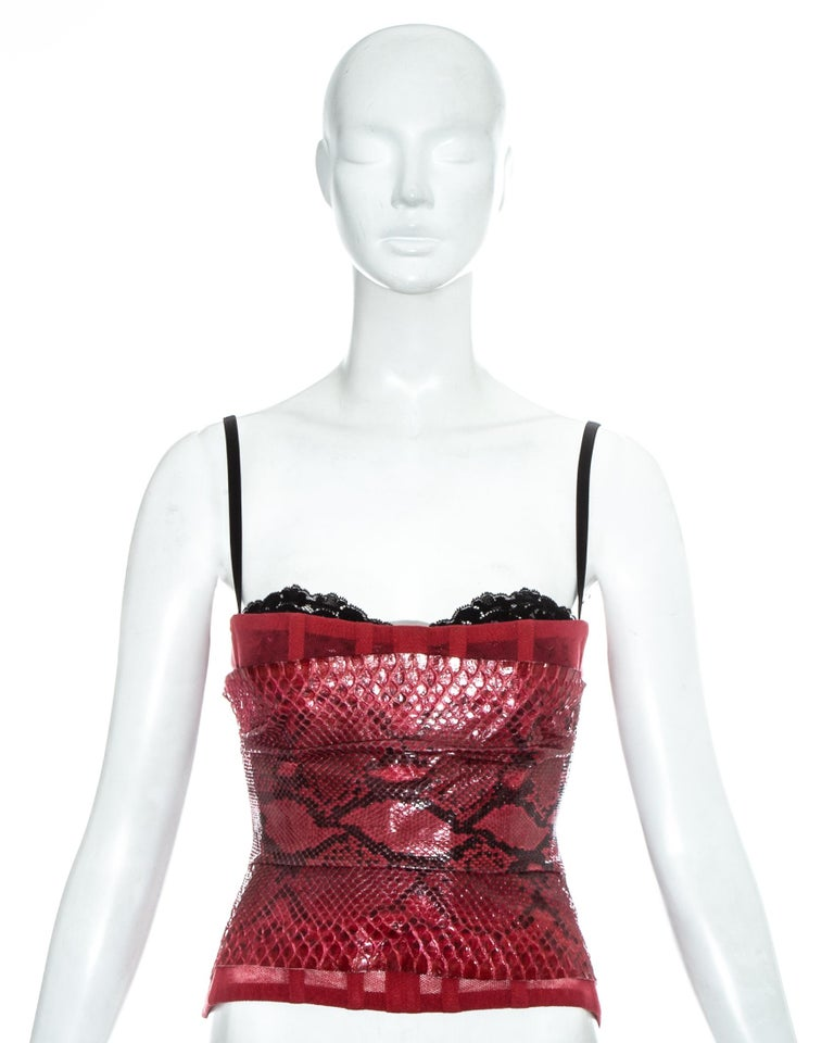 Dolce & Gabbana mesh corset with built in bra, internal boning and python overlay.   Spring-Summer 2005