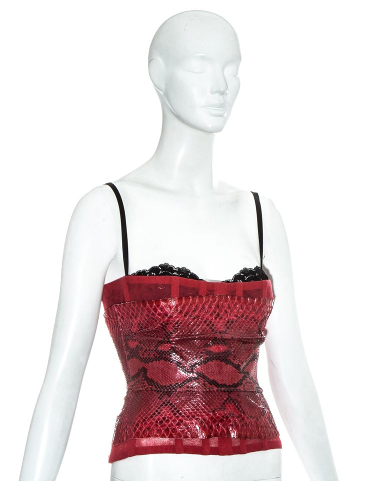 Dolce & Gabbana red snakeskin and mesh corset, ss 2005 In Good Condition For Sale In London, GB