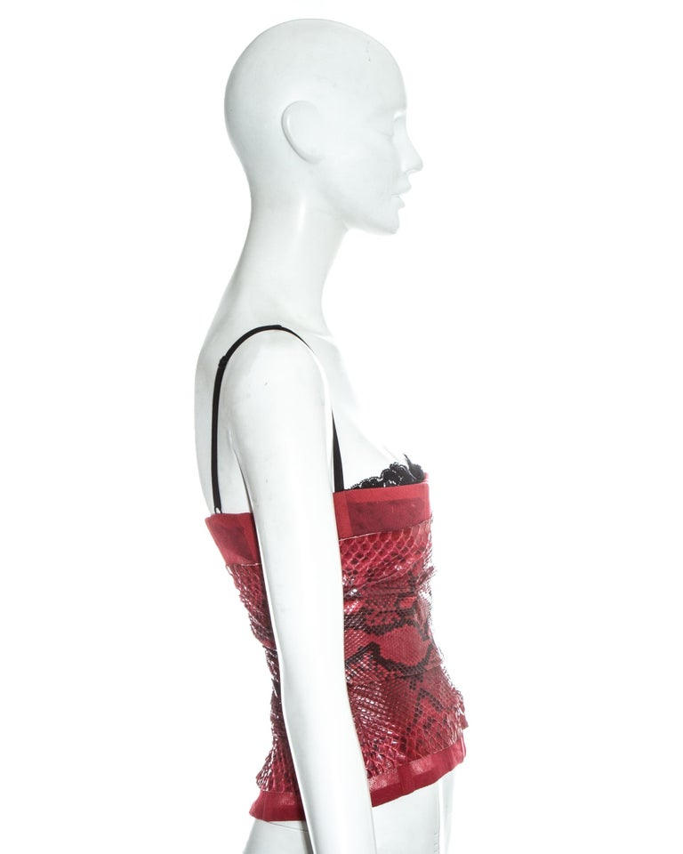 Dolce & Gabbana red snakeskin and mesh corset, ss 2005 For Sale 2