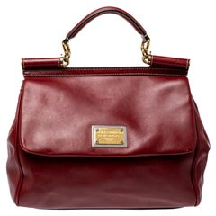 Dolce & Gabbana Red Soft Leather Large Miss Sicily Top Handle Bag