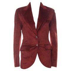 Dolce & Gabbana Red Suede DG Metal Embellished Blazer S
