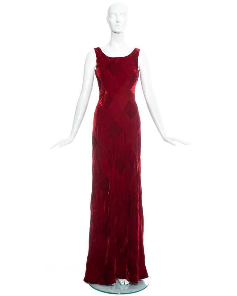Dolce & Gabbana, red velvet diamond patchwork maxi dress.  Fall-Winter 1993