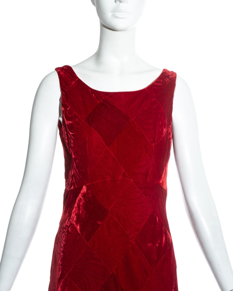 Red Dolce & Gabbana red velvet patchwork maxi dress, fw 1993 For Sale