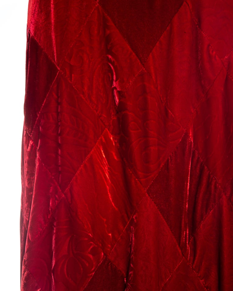 Dolce & Gabbana red velvet patchwork maxi dress, fw 1993 In Good Condition For Sale In London, GB