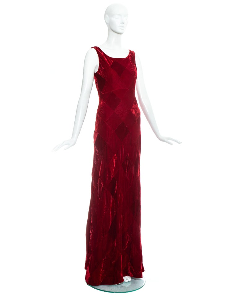 Women's Dolce & Gabbana red velvet patchwork maxi dress, fw 1993 For Sale