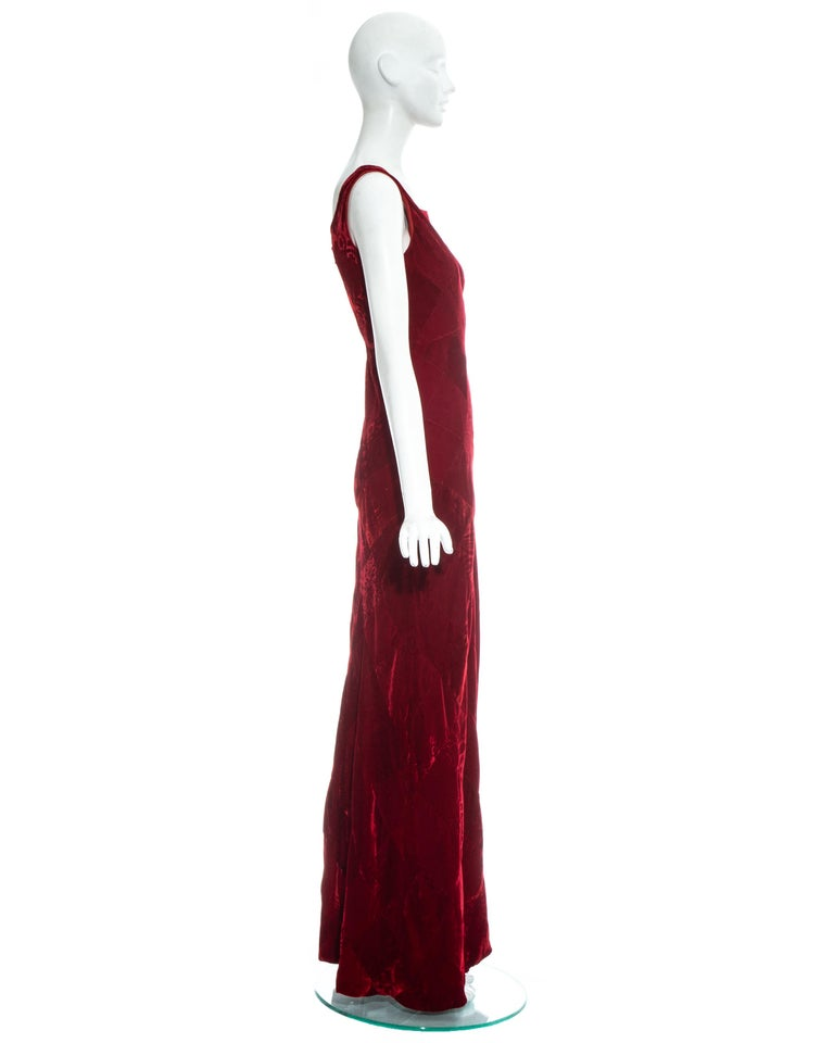Dolce & Gabbana red velvet patchwork maxi dress, fw 1993 For Sale 1