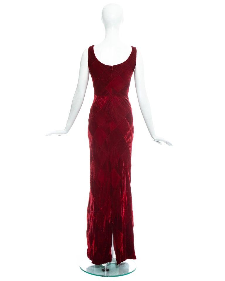 Dolce & Gabbana red velvet patchwork maxi dress, fw 1993 For Sale 2