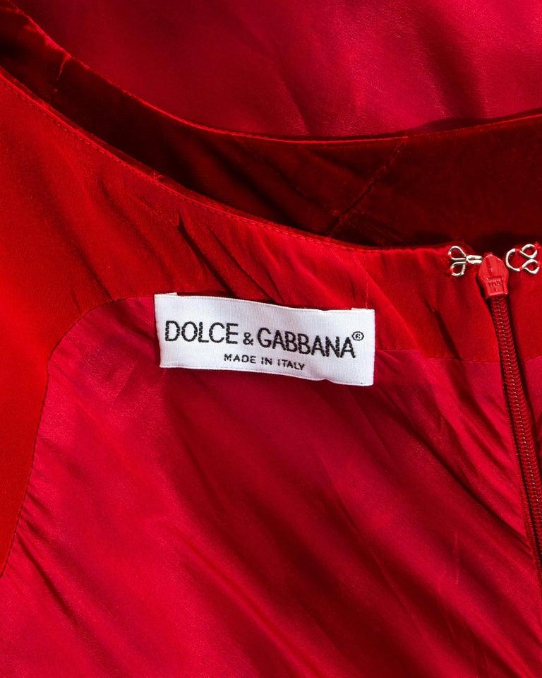 Dolce & Gabbana red velvet patchwork maxi dress, fw 1993 For Sale 3