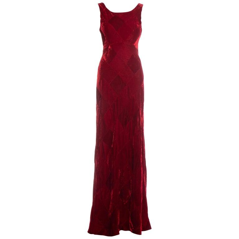 Dolce & Gabbana red velvet patchwork maxi dress, fw 1993 For Sale