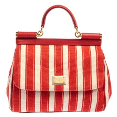 Dolce & Gabbana Red/White Stripe and Leather Medium Miss Sicily Top Handle Bag