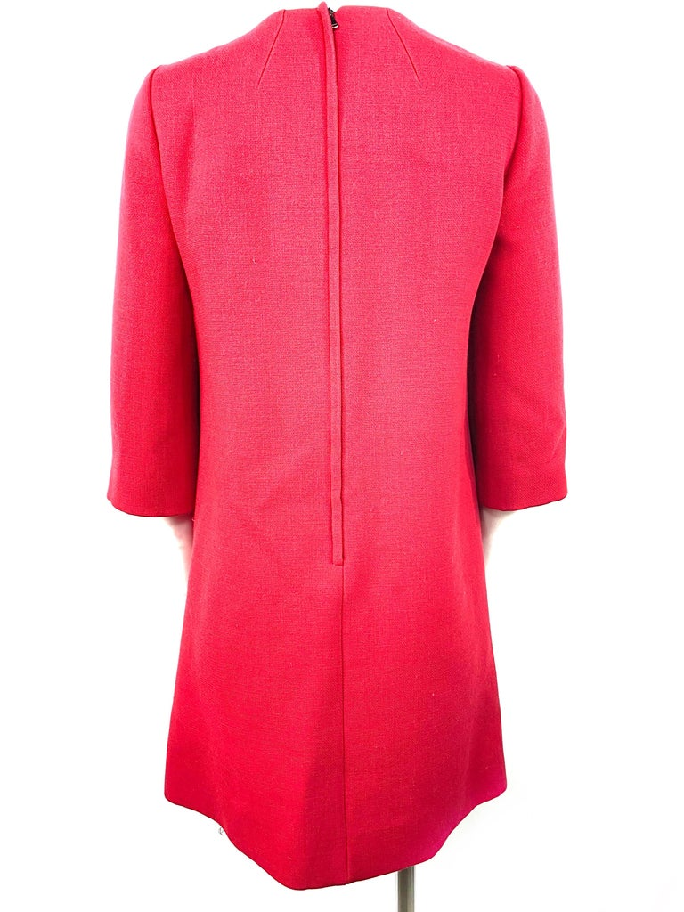 Dolce & Gabbana Red Wool Mini Dress Size 42 In Excellent Condition For Sale In Beverly Hills, CA