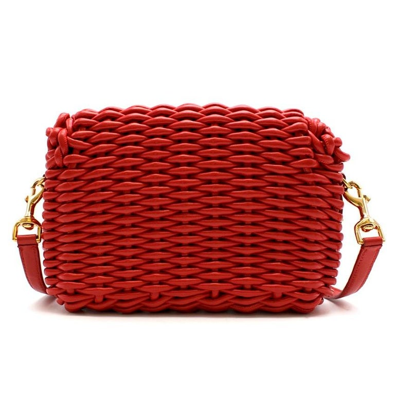 Dolce & Gabbana Red Woven Leather Crossbody Bag 26cm In Excellent Condition For Sale In London, GB