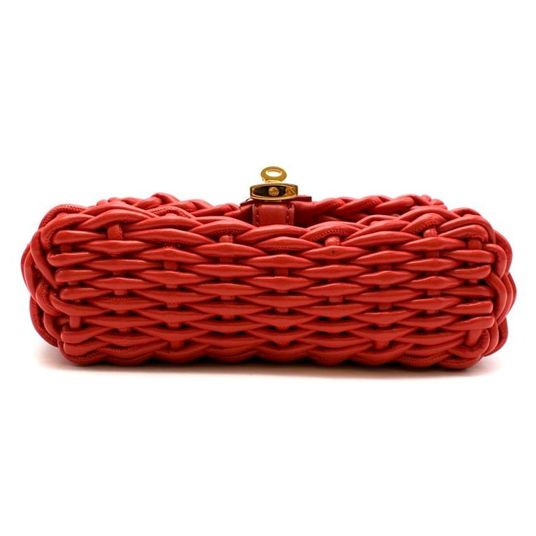 Dolce & Gabbana Red Woven Leather Crossbody Bag 26cm For Sale 1