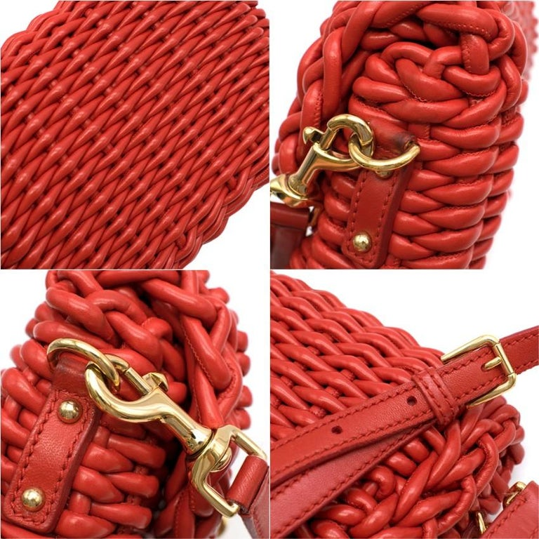 Dolce & Gabbana Red Woven Leather Crossbody Bag 26cm For Sale 3