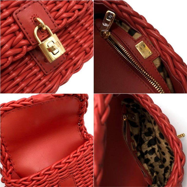 Dolce & Gabbana Red Woven Leather Crossbody Bag 26cm For Sale 4