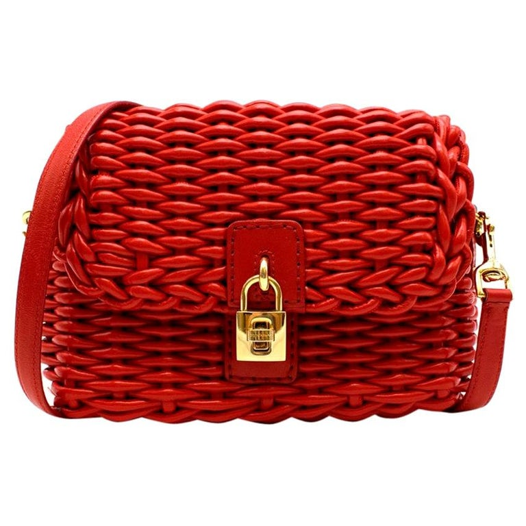 Dolce & Gabbana Red Woven Leather Crossbody Bag 26cm For Sale